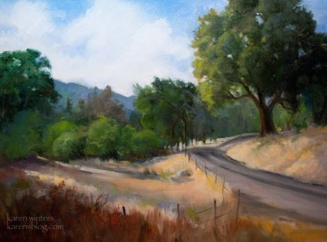 Homeward Bound - Paso Robles area California impressionist oil painting, painting by artist Karen Winters
