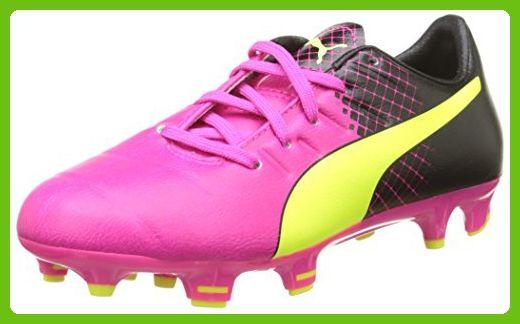 Puma evoPower 3.3 FG Jr F6, Unisex Kids' Football Shoes, Pink (Pink Glo-Safety Yellow-Black 01), 4 UK (37 EU)