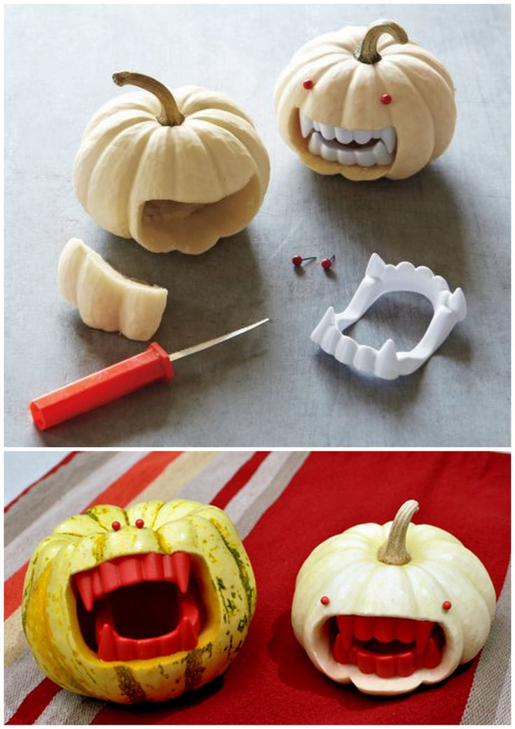 DIY Vampire Fanged Pumpkin Tutorials. Top Photo: Martha Stewart Tutorial here.Bottom Photo: Much more detailed tutorial from Future Girl here.For fanged donuts go here.