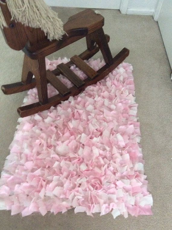 Rag Rug Baby Pink White Shimmer Boho Chic By TheThreadingHouse