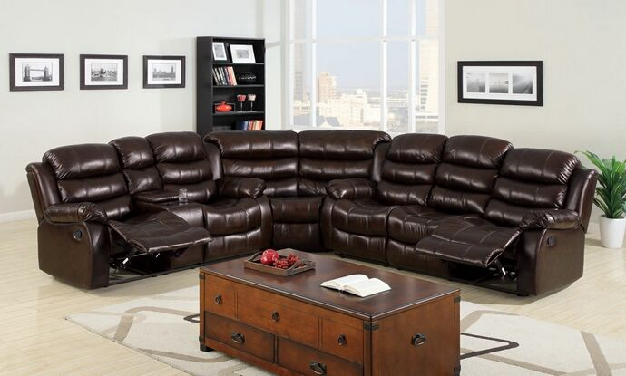 """3 Pc. Classic Berkshire Dark Brown Leather-Like Fabric Reclining Channel Back Sofa sectional Set.  The sectional Set contains: (1) Sofa w/ 2 Recliners measures: 77""""L x 38""""W x 39""""H, (1) Love Seat w/2 Recliners measures: 57""""L x 38""""W x 39""""H, and (1) Corner wedge measures: 42""""L x 42""""W x 39""""H. Overall measurements are 110"""" x 120"""".  SKU CM6551SEC"""
