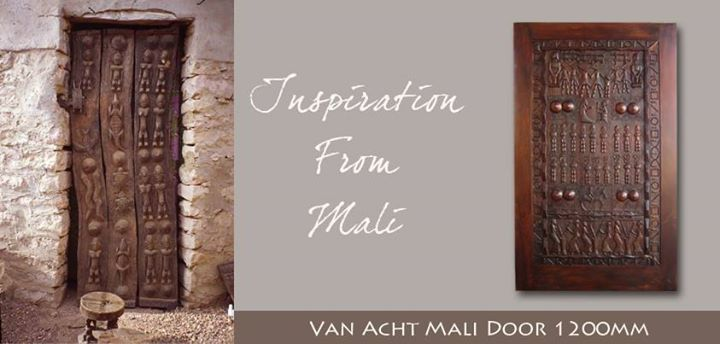 Door of the Day: Mali Door Materials Used : Kiaat with a dark stain Size: 1200x2032  This stunning door is part of our African Art Door Range, and it is truly a beautiful work of art as it has been hand carved. We have a collection of stunning hand carved African themed doors to view more visit our webpage www.vanacht.co.za