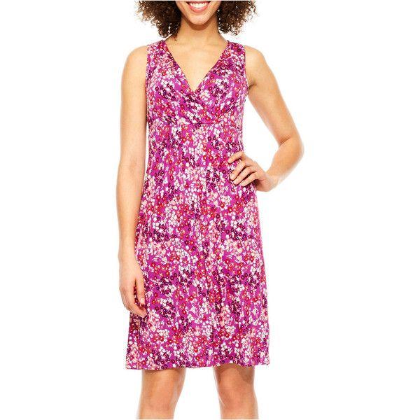 St. John's Bay Sleeveless Sundress ($20) ❤ liked on Polyvore featuring dresses, pink sundress, sundress dresses, no sleeve dress, sleeveless sundress and pink sleeveless dress