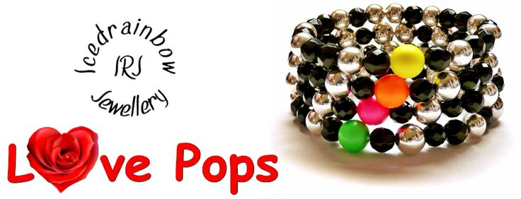 Neon love pops ltd edt while stocks last made with silver mirrored balls & black onyx geo gemstones & a single swarovski neon centre bead £15 each contact to order