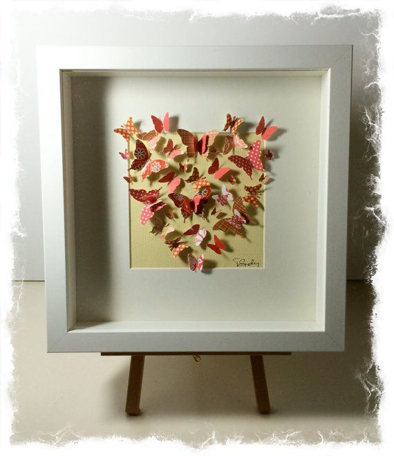shadow box frame with butterfly heart by