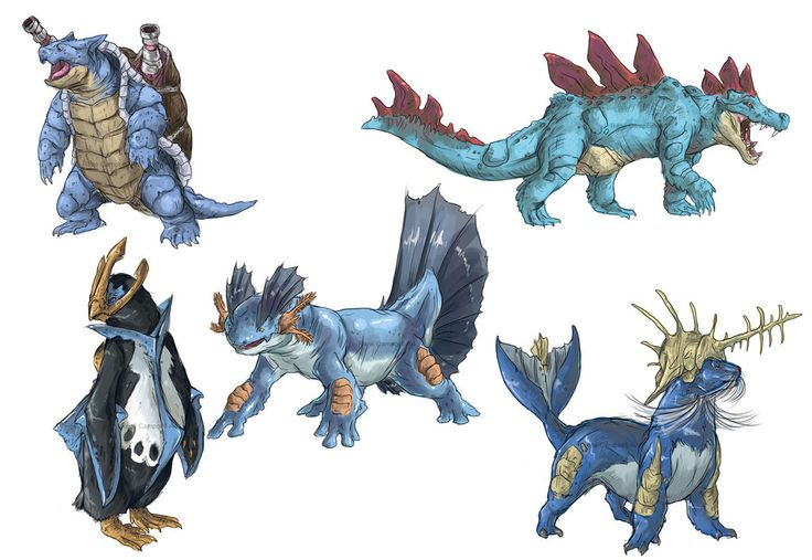 Realistic Pokemon Sketches: Water Final Evolutions by ~nauvasca on deviantART