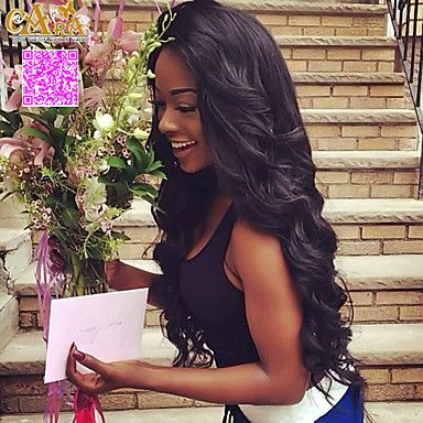 """8""""-26""""+Peruvian+Virgin+Hair+Body+Wave+Glueless+Lace+Wig+Lace+Front+Wig+Color+Natural+Black+Baby+Hair+for+Black+Women+–+USD+$+96.20"""