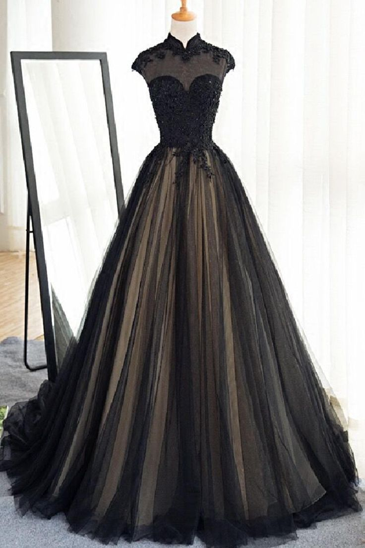 Vintage prom dress, ball gown, elegant black tulle long prom dress with cap sleeves