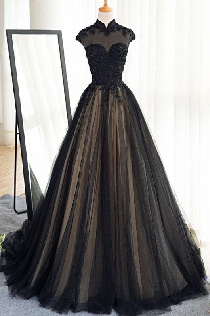 Black dress retro - Black Tulle Cap Sleeves Floor Length Long Prom Dresses Luxury Dresses From Sweetheart Dress Vintage