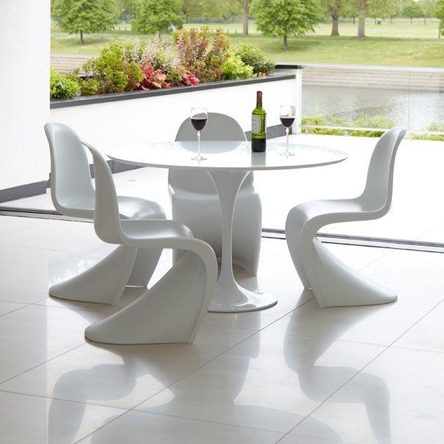 Afbeeldingsresultaat voor panton stoelen saarinen tafel