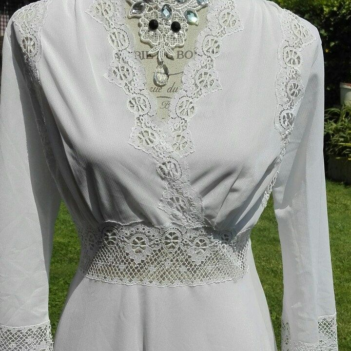 Shabby chic vintage bianco SPOSA camicia da notte bianca