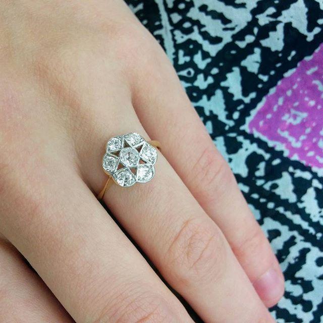 0.80ct Victorian-inspired vintage diamond cluster ring  #vintage #victorian #diamond #diamonds #star #love #sparkle #vintagejewelry #jewelry #jewellery #hattongarden #farringdonsjewellery