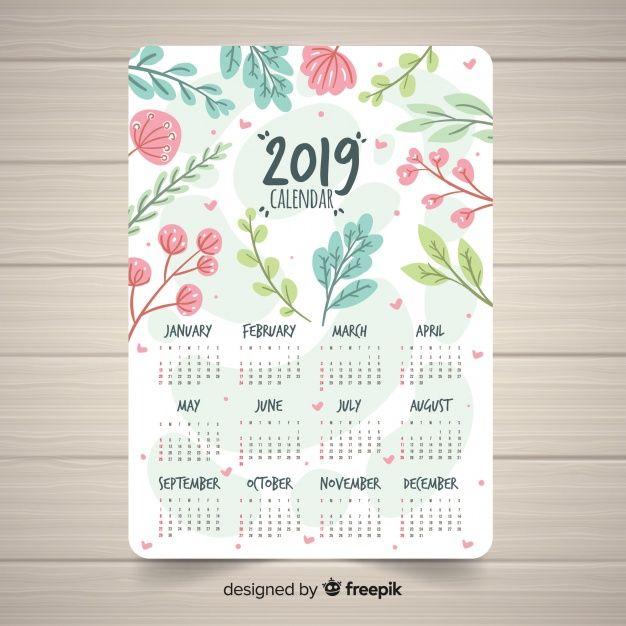 Calendario Vectorizado.Plantilla Adorable De Calendario De 2019 Con Estilo Floral