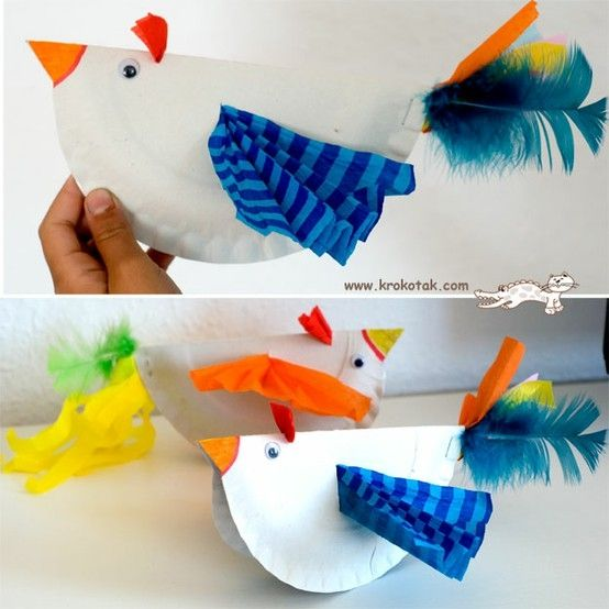 Colourful paper plate birds by kelly.meli
