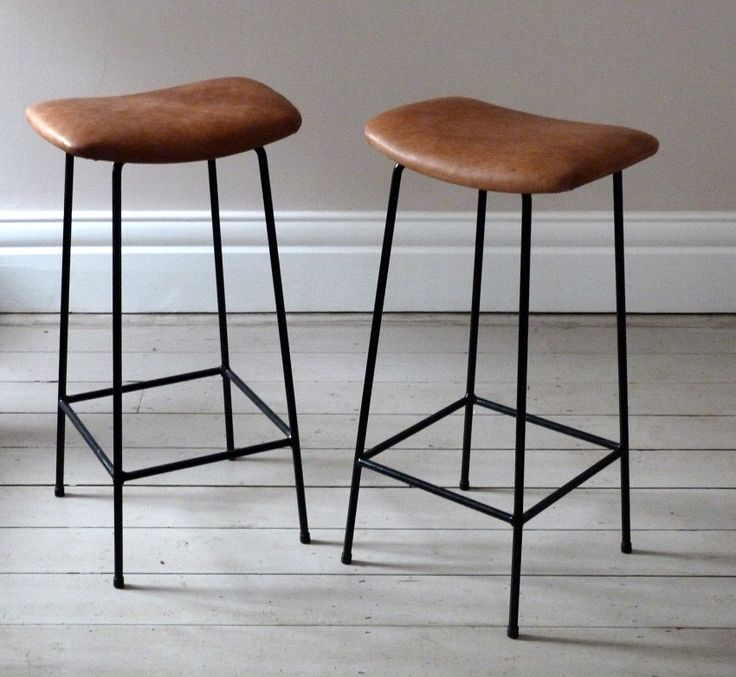 Pair of Vintage Tan Leather Bar Stools UK | Ormston Saint - Home & Garden
