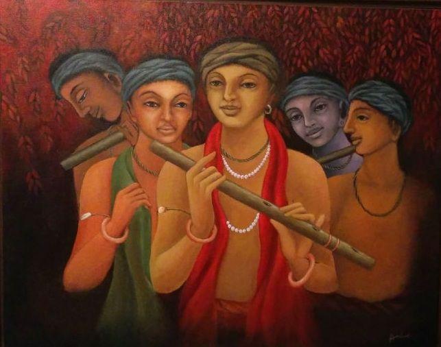 """Krishna"" Paintings Series by Artist Anita Jhunjunwala http://colourentice.com/Anita-Jhunjunwala.php For more works visit us at www.colourentice.com or for assistance call us at 9920042242 #Art #Paintings #homedecor #artonsale #LordKrishna #krishnapaintings"