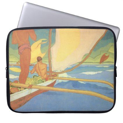 #'Men in an Outrigger Canoe Headed for Shore' Laptop Sleeve - #deco #gifts