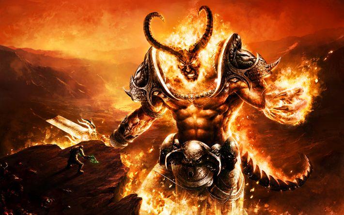 Herunterladen hintergrundbild sargeras, 4k, dämon, wow, world of warcraft