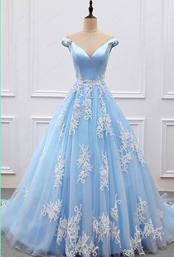 Sweet 16 Dresses | Stylish V-neck blue tulle off shoulder prom dress with lace appliques #prom #dresses #gowns #promdress #promdresses