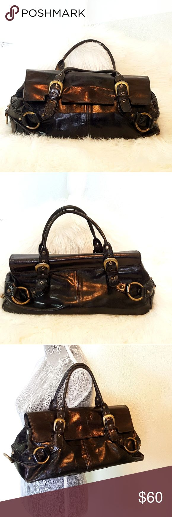 "ADRIENNE VITTADINI black leather shoulder bag ADRIENNE VITTADINI black leather shoulder bag, excellent condition  Measurements are approximate  17 x 8 x 6 5"" strap drop height Adrienne Vittadini Bags Shoulder Bags"