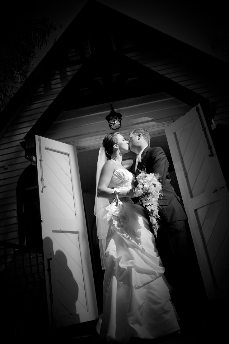 gorgeous shot on the front steps of the chapel #chateauwyuna #wedding #bride #groom #mrandmrs #weddingreception #cheekykiss #inlove #married #congratulations