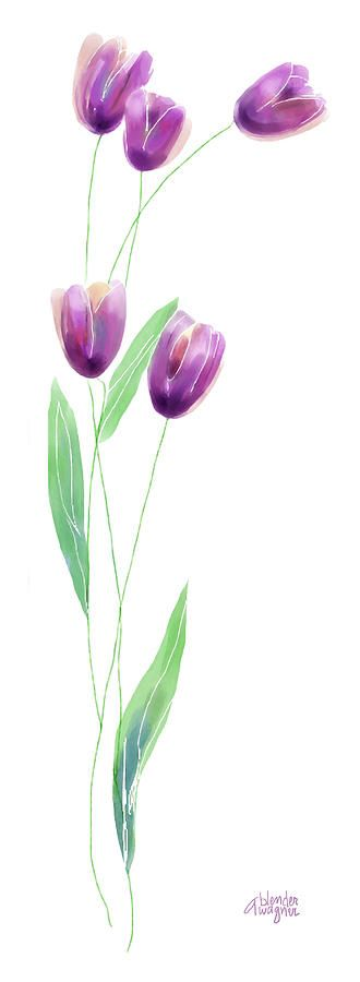 Purple Tulips Digital Art by Arline Wagner