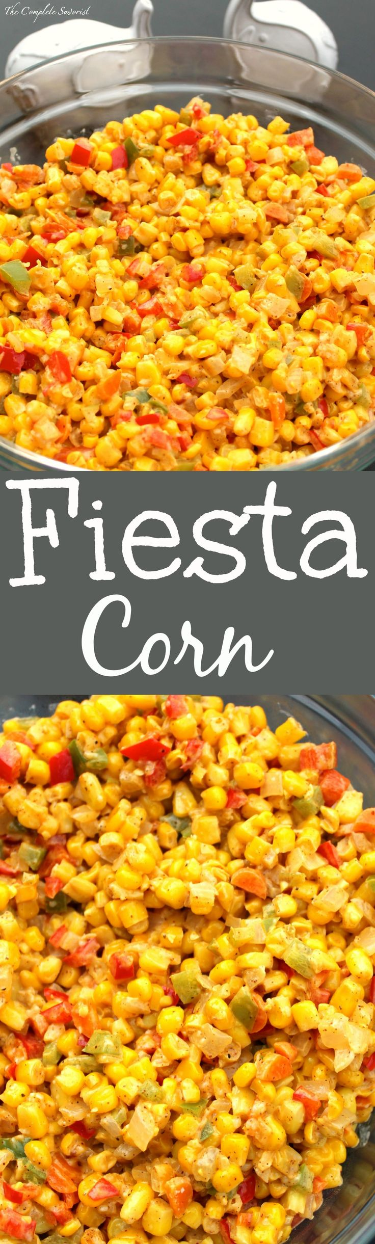 Fiesta Corn ~ Corn, bell peppers, carrots, and onions mixed with mayo, chili powder, and parmesan for a side dish in the style of Mexican street corn. ~The Complete Savorist