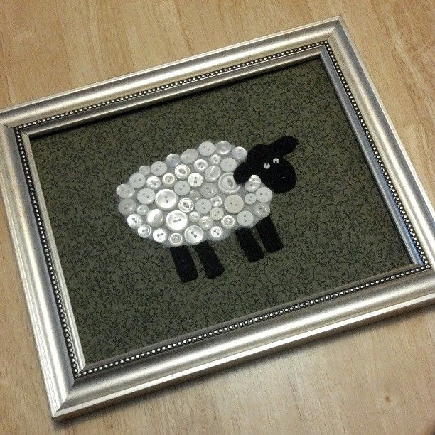 Adorable #DIY craft sheep with buttons from my mom for the baby's room.