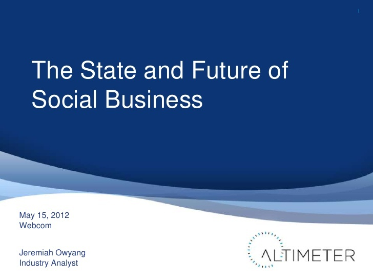 Jeremiah Owyang's Slideshare presentation revealing The State and Future of Social Business http://lenq.me/stateofsm: Media Trends, Nicheprof S Social, Social Business, Social Media, U.S. States, Jeremiah Owyang S, Bee Social