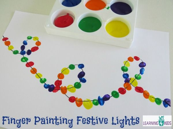 Finger Painting Festive Light - simple and fun Christmas Activity by Learning 4 Kids