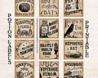 Trank Flasche Etiketten Halloween Hexe vergiften Apotheker