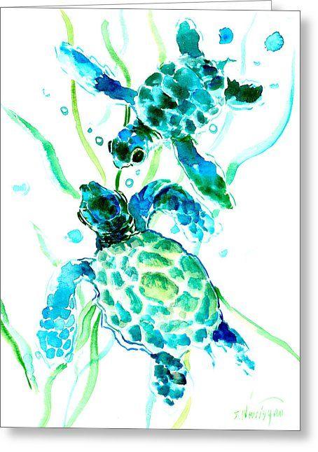 Turquoise Indigo Sea Turtles Greeting Card by Suren Nersisyan
