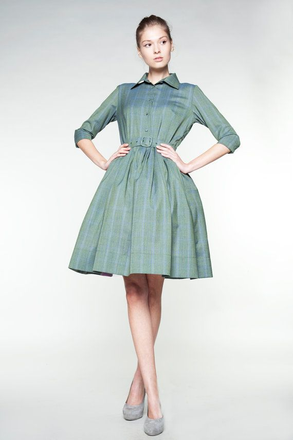 Emerald Green Woolen Dress by Mrs Pomeranz by mrspomeranz on Etsy, £295.00
