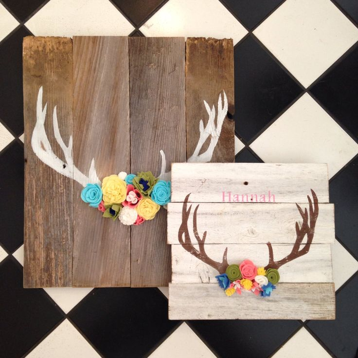 Wooden Sign Antler with felt flowers by PeabodyAndSassafras SO CUTE!