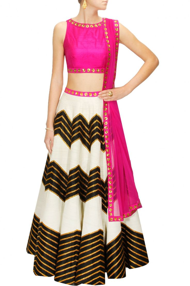 Ivory and black lehenga set with pink embroidered blouse and dupatta available only at Pernia's Pop-Up Shop.
