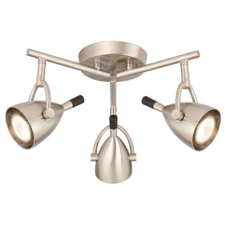 "14"" Modern 3 Head Pan Fixed Track Spot Light Ceiling Flush mount Brushed Nickel #StyleSelections #Transitional"