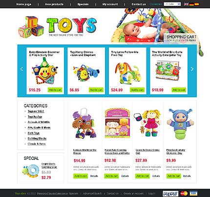 Toys Store osCommerce Templates by Di