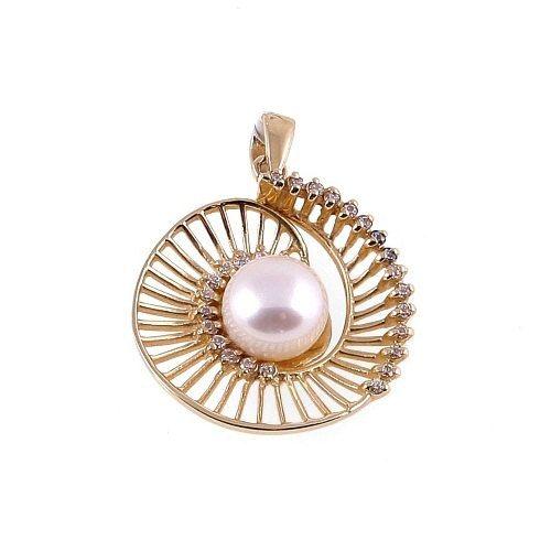 14k Gold Snail Pendant Pearl by ParthenonGreekJewelr on Etsy