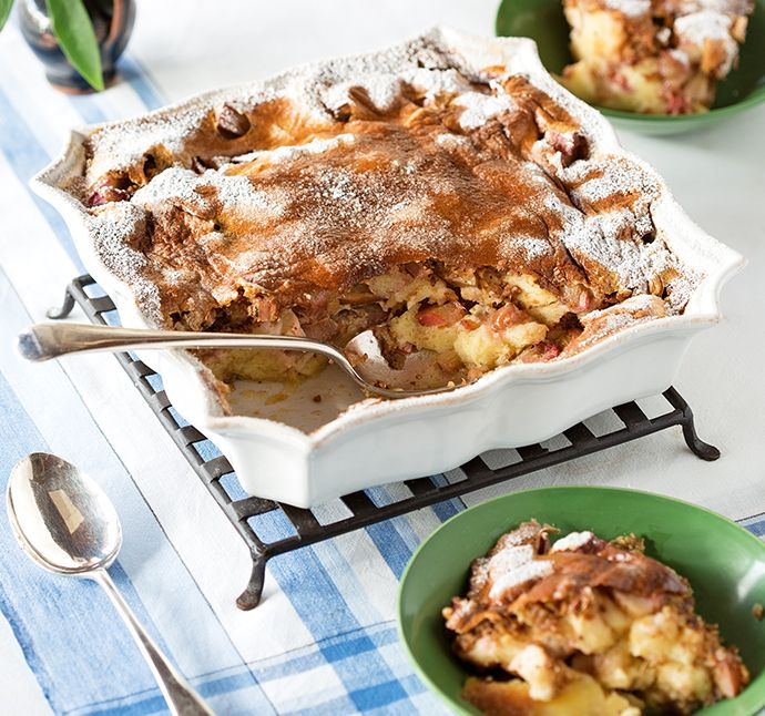 Rhubarb and hazelnut bread pudding