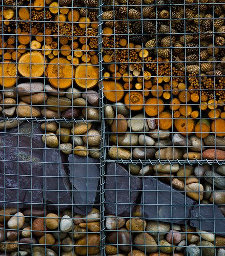 Gabion with mixed materials