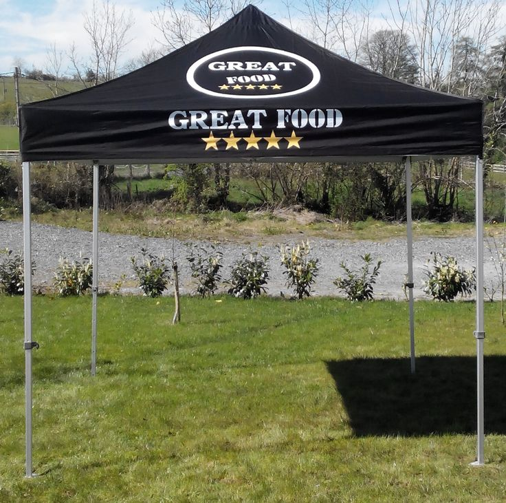 3m x 3m Heavy Duty Pop Up Marquee Great Food (Ready to go). The industrial Great Food 3m x 3m (10ft x 10ft) heavy duty Gazebo/ pop up / Poptent, is the ultimate in strength with this outstanding excellent cupcake design you are ready to trade straight away. With the Great Food design gives number of options of what food you be selling or promoting. #GreatFoodPrintedTents