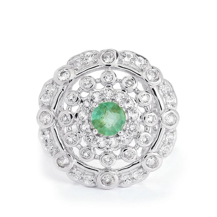 A gorgeous Ring from the Annabella collection, made of Sterling Silver featuring 1.55cts of wonderful Zambian Emerald and White Topaz.