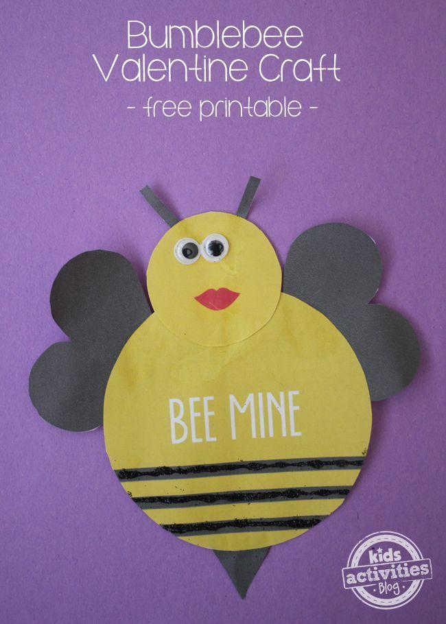Bumblebee Valentine Craft {with A Free Printable} – Bumblebee Valentine Craft {with A Free Printable}. So Stinking Cute!#kids #valentine #fr...