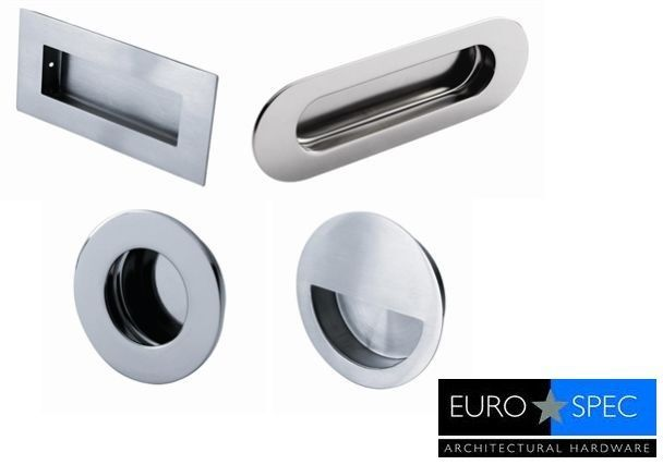 Eurospec Flush Recessed Door Pull Handle Satin or Polished Stainless Steel