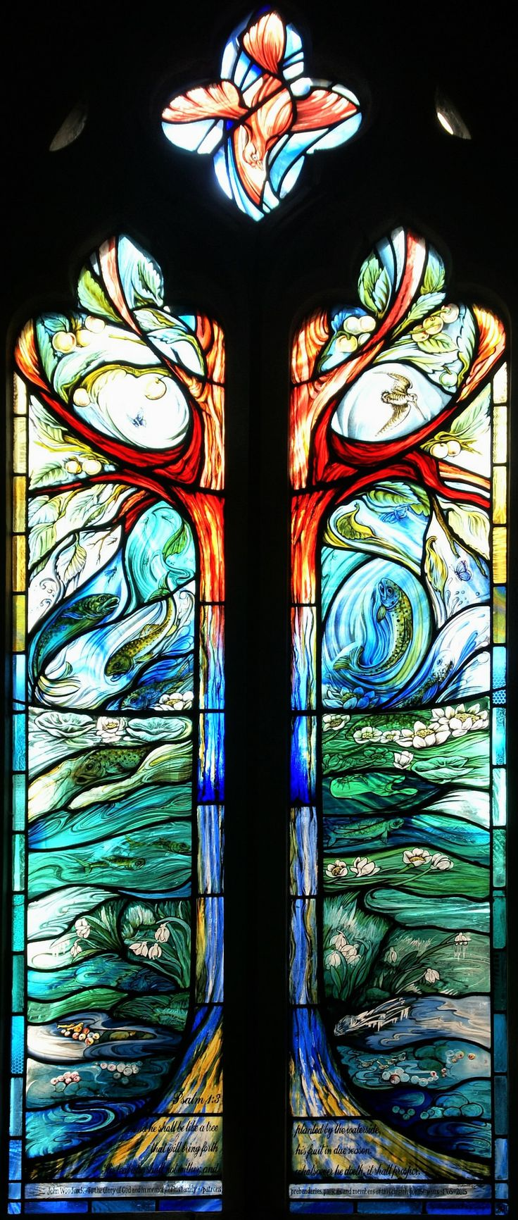 "https://flic.kr/s/aHskjNyAFH | Longparish 'Four Seasons' Window | Stained glass window with images of the River Test brown trout and illustrating Psalm 1:3:  ""And he shall be like a tree planted by the waterside, that will bring forth his fruit in due season.  His leaf also shall not wither; and whatsoever he doeth, it shall prosper.""  By stained glass artist Jude Tarrant of Sunrise Stained Glass, Hampshire UK."
