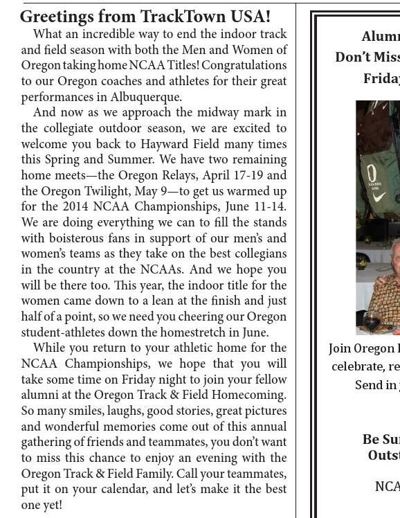 #ClippedOnIssuu from Spring 2014 Newsletter - Friends of Oregon Track and Field