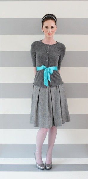 More monochromatic, please.Colors Combos, Grey And Turquois Outfit, Pretty Clothing, Outfit With Gray Skirts, Ribbons Belts, Tiffany Blue, Colors Combinations, Gray Style With Pop Of Colors, Aqua