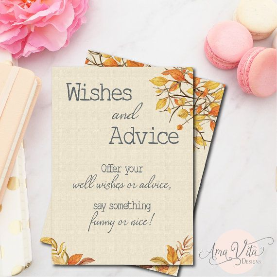Fall Bridal Shower Wishes And Advice Guest Card Sign