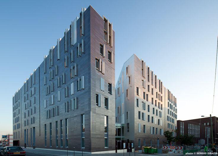 (BP) Architectures Jean Bocabeille Architecte et Ignacio Prego Architecture, le programme mixte M9C composé de 68 logements sociaux, d'un théâtre 200 places, et d'une école maternelle, ZAC Chevelaret à Paris