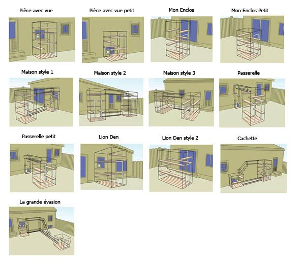 Choisissez parmi ces 13 ensembles enclos pour chat extérieur Habitat Haven prédéfini pour installation sois même. Les cage pour chat chatterie Habitat Haven sont facile à installer et d'une qualité suppérieur.